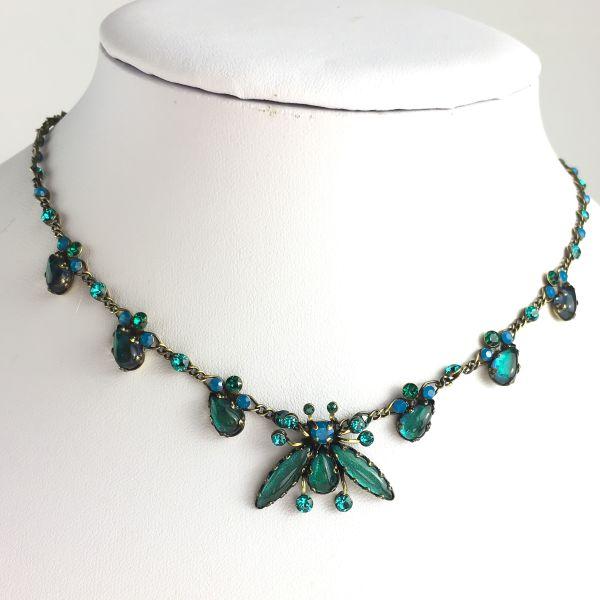 Konplott Flower Zumzum blau/grüne Halskette steinbesetzt #5450543621258