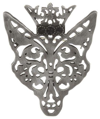 Konplott The Fox Brosche Fuchs mit Krone, schwarze Steine #5450543693217