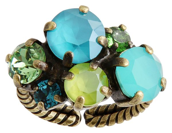 Konplott Ballroom Classic Glam Ring in blau/grün #5450543726724