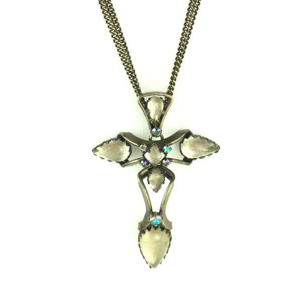 Konplott Dracula Halskette mit Anhänger lang beige, Kreuz #5450543609614