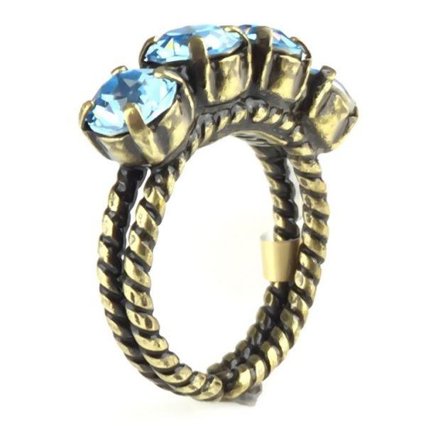 Colour Snake Ring in Aquamarine, hellblau