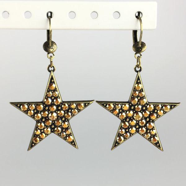 Konplott Dancing Star steinbesetzte Ohrhänger mit längl. Verschluss gold Stern #5450543622293
