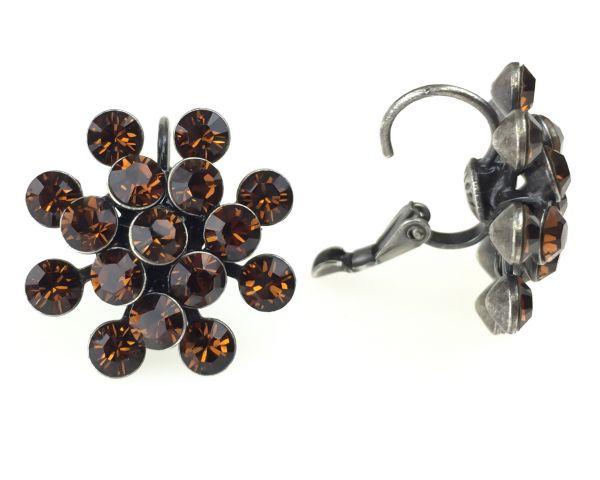 Konplott Magic Fireball Ohrhänger mit Klappverschluss in smoked topaz, braun #5450527640145