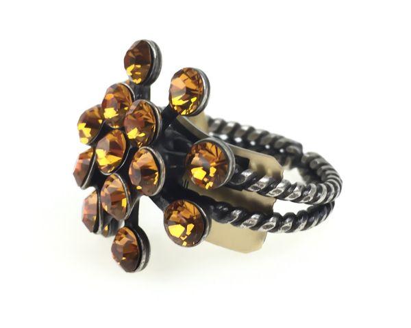 Konplott Magic Fireball 16 Stein Ring in topaz, gelb/braun #5450527640558