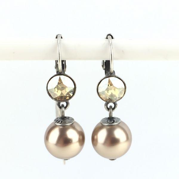 Konplott Pearl Shadow crystal golden shadow 1 Perlen Ohrhänger mit Klappverschluss #5450527598781