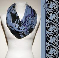 Konplott Schal Floral 8 in schwarz/blau