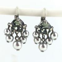 Konplott Pearl Shadow black diamond 5 Perlen Ohrhänger mit Klappverschluss