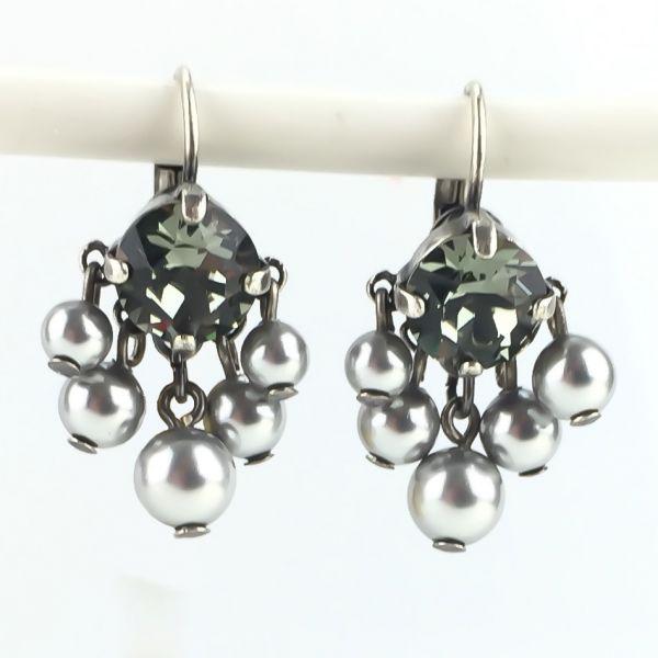 Konplott Pearl Shadow black diamond 5 Perlen Ohrhänger mit Klappverschluss #5450527480833