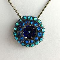 Konplott Inside Out blau/grüne Halskette mit Anhänger klein #5450543638003