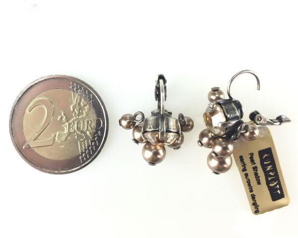 Konplott Pearl Shadow crystal golden shadow 5 Perlen Ohrhänger mit Klappverschluss #5450527598774