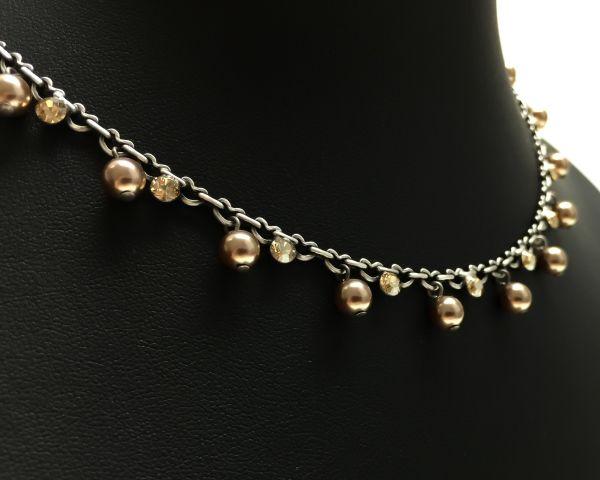 Konplott Pearl Shadow crystal golden shadow Halskette steinbesetzt #5450527598675