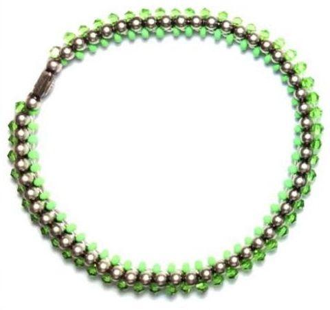 Konplott Bead Snakes elastisches Armband grün #5450543662381