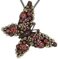 Konplott Lost Garden Halskette lang mit Anhänger beige/pink, Schmetterling #5450543652443