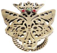 Konplott The Fox Ring gold Fuchs mit Krone, Steine rot/ grün #5450543693422