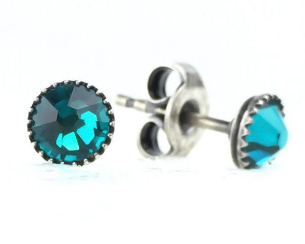 Konplott Black Jack Ohrstecker klassisch rund klein in blue zircon #5450527601290