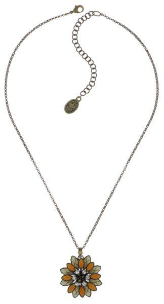 Konplott Psychodahlia Halskette mit Anhänger in gelb Messing #5450543730370