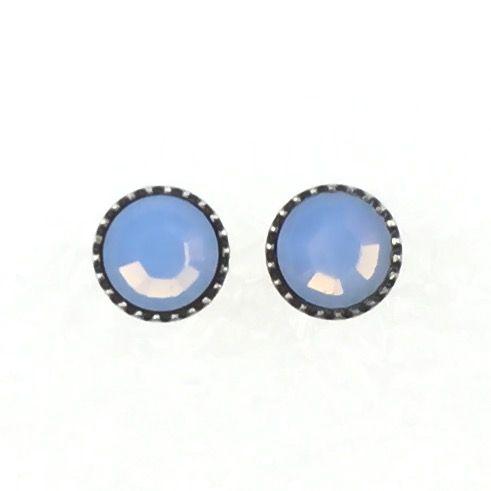 Black Jack Ohrstecker klassisch rund klein in air blue opal