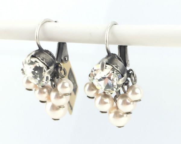 Konplott Pearl Shadow crystal 5 Perlen Ohrhänger mit Klappverschluss #5450527444552