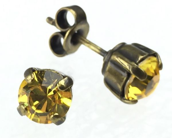 Konplott Black Jack Ohrstecker eckig in Light Topaz, gelb #5450527464543