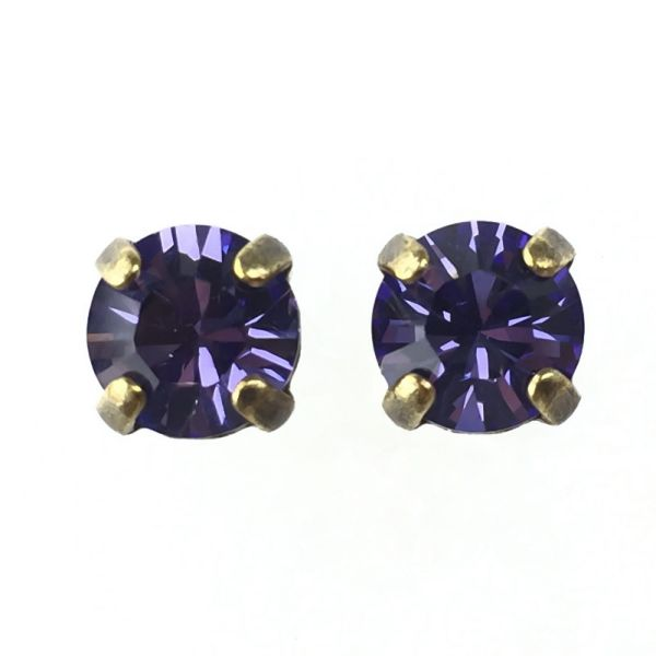 Black Jack Ohrstecker eckig in Tanzanite, violett