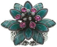 Psychodahlia Ring in grün/pink Silberfarben