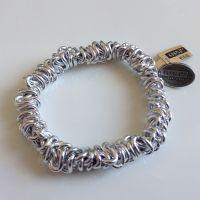 Bead Snakes elastisches Armband in silber/weiß glänzend