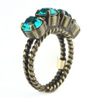 Konplott Colour Snake Ring in Blue Zircon, dunkeltürkis