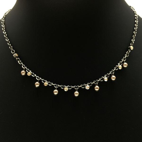 Pearl Shadow crystal golden shadow Halskette partiell steinbesetzt