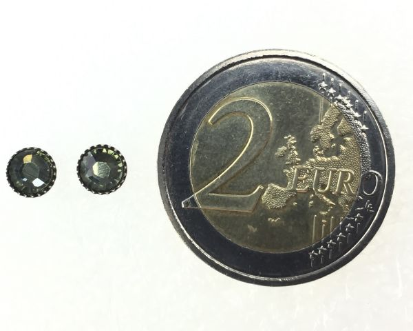 Konplott Black Jack Ohrstecker klassisch rund klein in grey black diamond #5450527725446