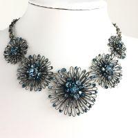 Konplott Distel blaue Halskette steinbesetzt #5450543628431
