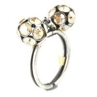 Disco Balls crystal golden shadow Ring mit 2 Kugeln
