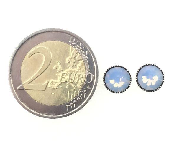 Konplott Black Jack Ohrstecker klassisch rund groß in air blue opal #5450543262024