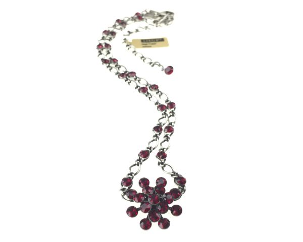 Konplott Magic Fireball Halskette steinbesetzt mit Anhänger in siam, dunkelrot #5450527640435