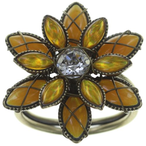 Konplott Psychodahlia Ring in gelb Messing #5450543730462