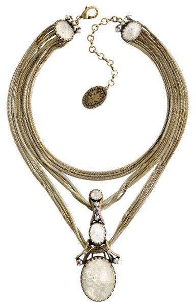 Konplott Dracula Bride Halskette mit großen Steinen in weiß #5450543675008