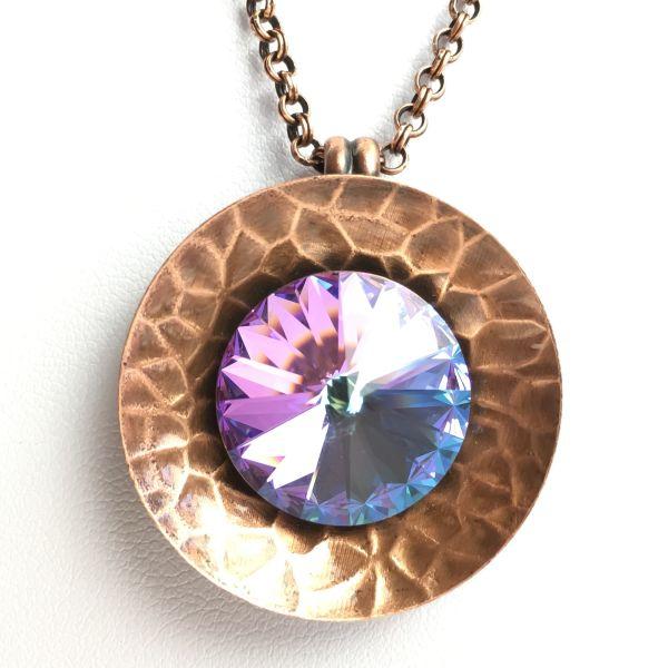 Konplott Rivoli Concave weiß rose crystal vitrail Halskette mit Anhänger #5450543473819
