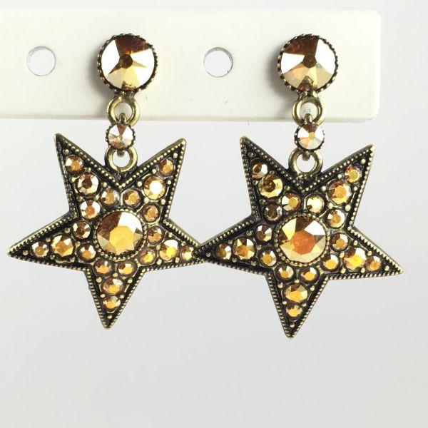 Konplott Dancing Star steinbesetzte Ohrstecker hängend gold Stern #5450543633688