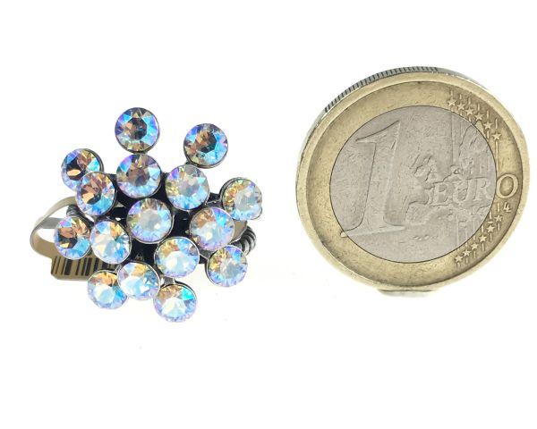 Konplott Magic Fireball white/brown crystal shimmer Ring #5450543644189