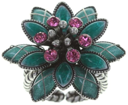 Konplott Psychodahlia Ring in grün/pink Silberfarben #5450543734699