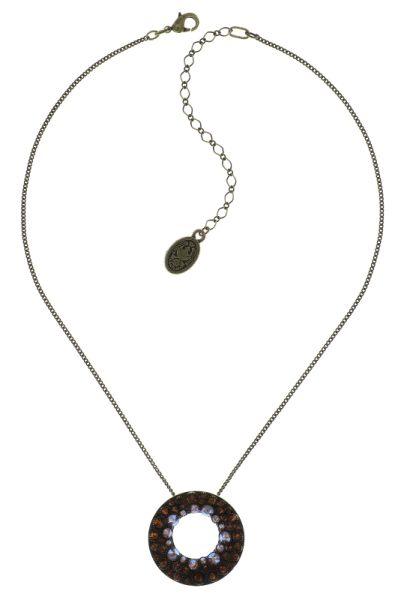 Konplott Inside Out Halskette mit großem Anhänger in braun #5450543641591