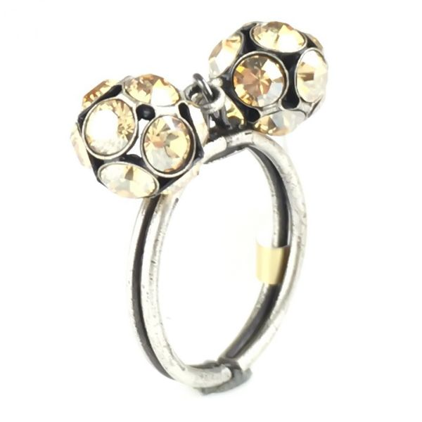 Konplott Disco Balls crystal golden shadow Ring mit 2 Kugeln #5450527640732
