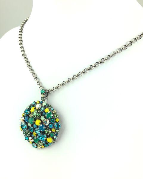 Konplott Ballroom Halskette mit Anhänger grün, blau, gelb #5450543485546