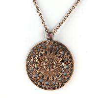 Konplott Rosone rosa Halskette mit Anhänger lang #5450543499635