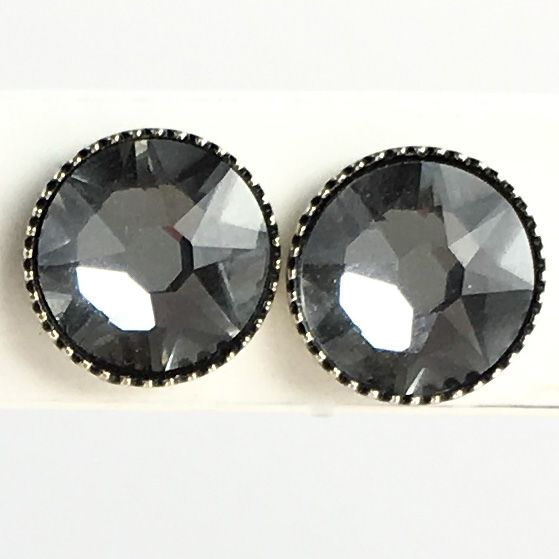 Konplott Black Jack Ohrstecker groß in crystal silver night, kristall schwarz #5450527778404