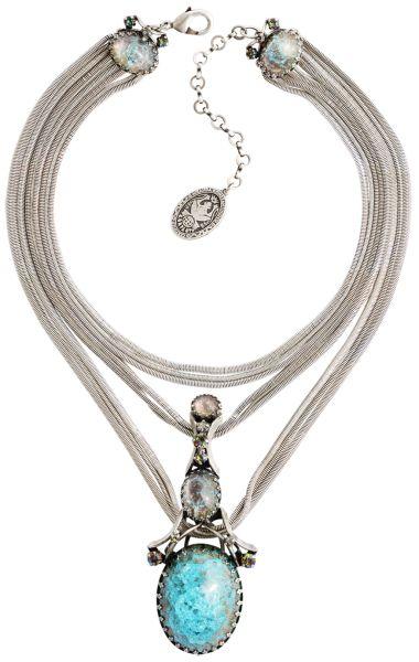 Konplott Dracula Bride Halskette in hellblau mit großem Stein #5450543674575