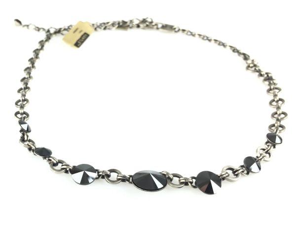 Konplott Rivoli schwarze Halskette partiell steinbesetzt #5450527612777