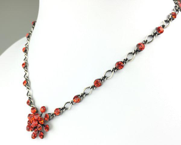 Konplott Magic Fireball Halskette steinbesetzt mit Anhänger in hyacinth, orange/rot #5450527640350