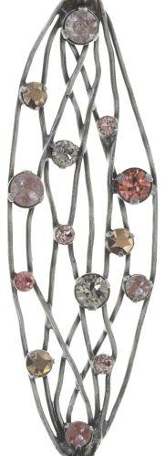Konplott Cages Halskette mit Anhänger lang in beige/pink Silberfarben #5450543741222