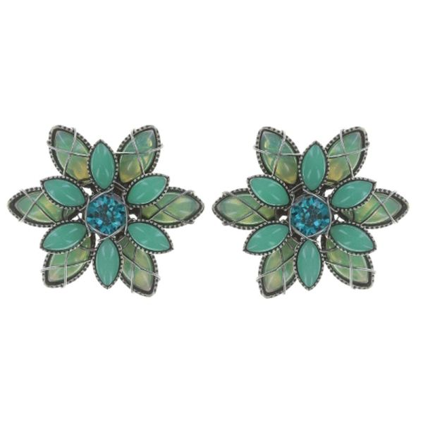 Konplott Psychodahlia Ohrstecker in blau/grün Silberfarben #5450543730172