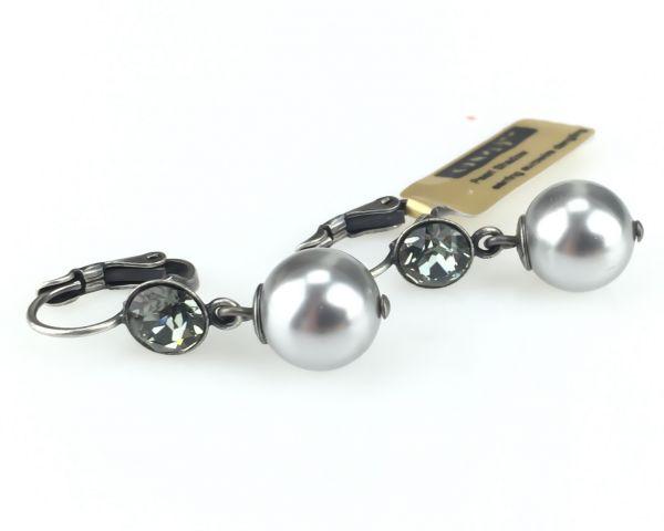 Konplott Pearl Shadow black diamond 1 Perlen Ohrhänger mit Klappverschluss #5450527598859